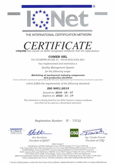 Comer CSQ-IQNET ISO9001:2015